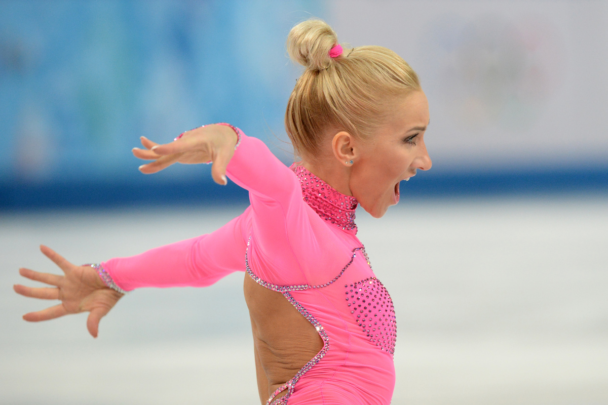 Second place for skating, first place for fearless fashion. (DAMIEN MEYER/AFP/Getty Images)