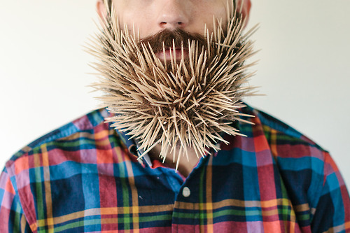"Man has beard. Man sticks random household objects in beard. <a href=""http://willitbeard.tumblr.com/"" target=""_blank"">Interne"