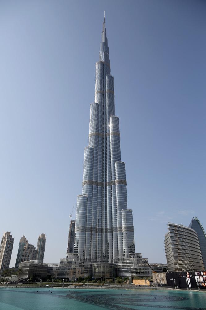The Burj Khalifa in Dubai (828m).