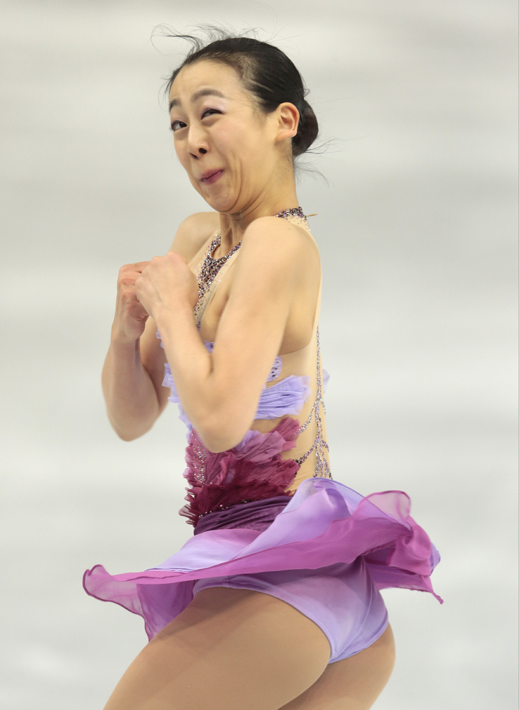 Mao Asada of Japan competes in the women's team short program figure skating competition at the Iceberg Skating Palace during