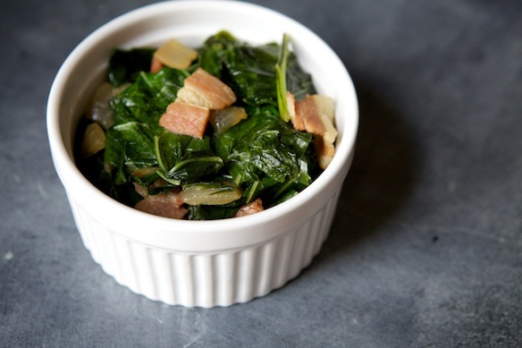 """<strong>Get the <a href=""""http://food52.com/recipes/14250-beer-and-bacon-braised-collard-greens"""" target=""""_blank"""">Beer and Baco"""