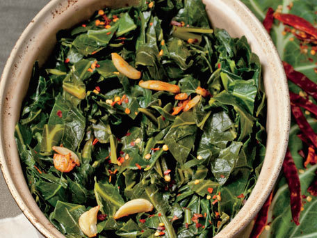 """<strong>Get the <a href=""""http://www.huffingtonpost.com/2011/10/27/quick-braised-collards-wi_n_1061486.html"""">Quick Braised Col"""