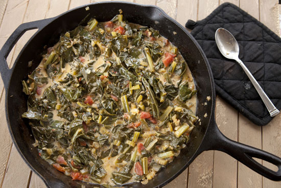 """<strong>Get the <a href=""""http://www.macheesmo.com/2012/12/cast-iron-collard-greens/"""">Cast Iron Collard Greens recipe from Mac"""