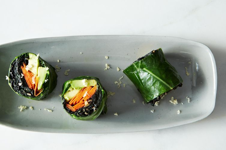 """<strong>Get the <a href=""""http://food52.com/recipes/26341-collard-roll-ups-with-coconut-curry-kale"""" target=""""_blank"""">Collard Ro"""