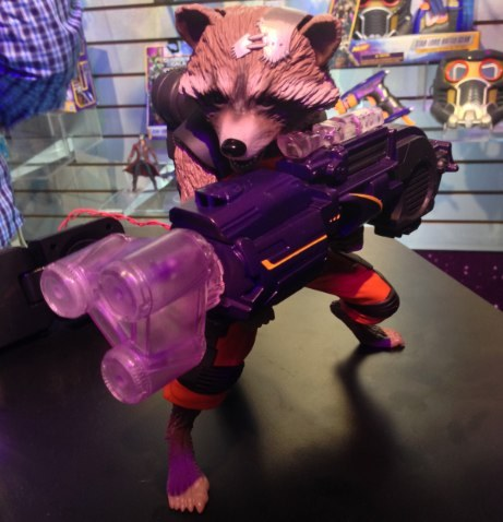 """Rocket Raccoon from """"Guardians of the Galaxy"""" speaks and animates as he fires his weapon."""