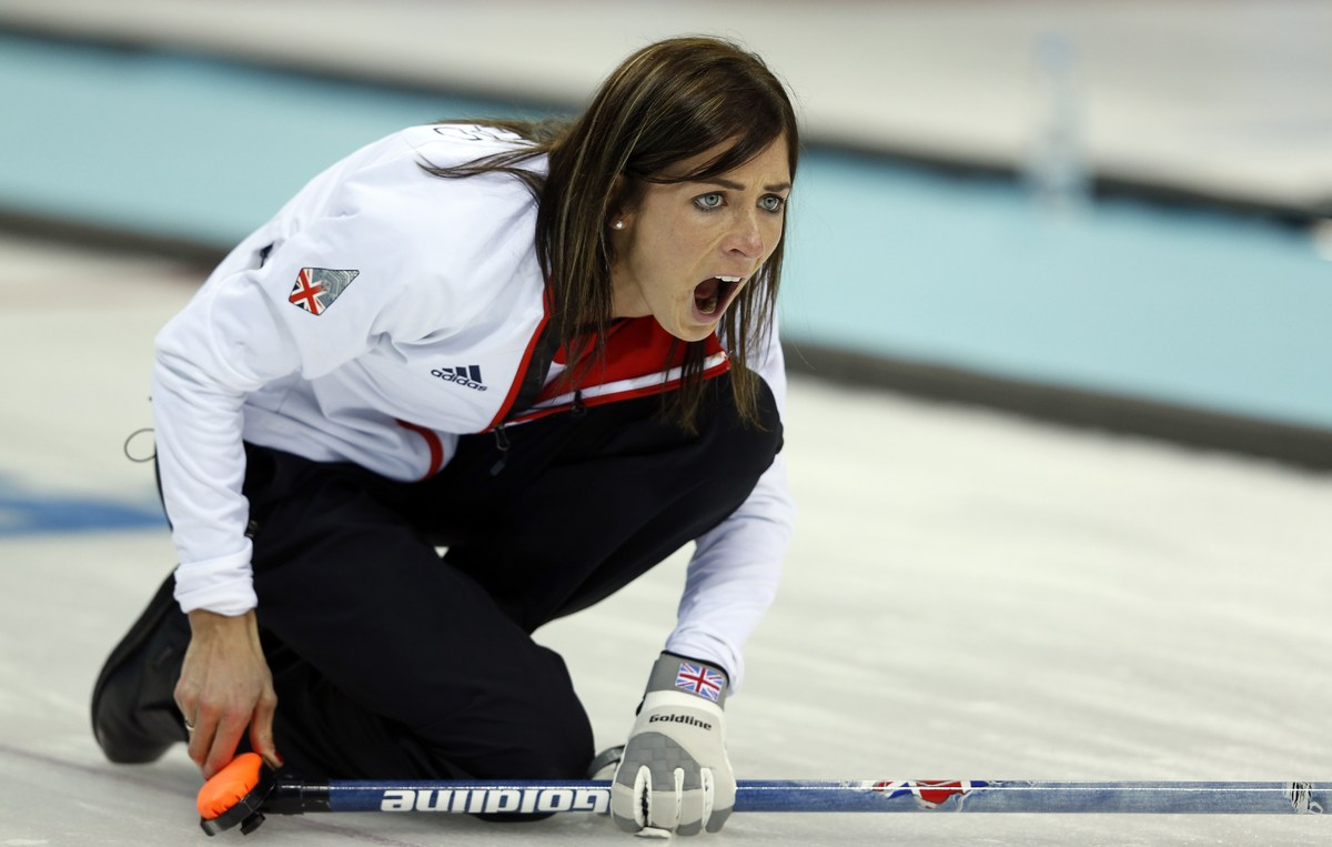 Great Britain's Skip Eve Muirhead shouts instructions at her sweepers during the Women's Curling Round Robin Session 11 Russi