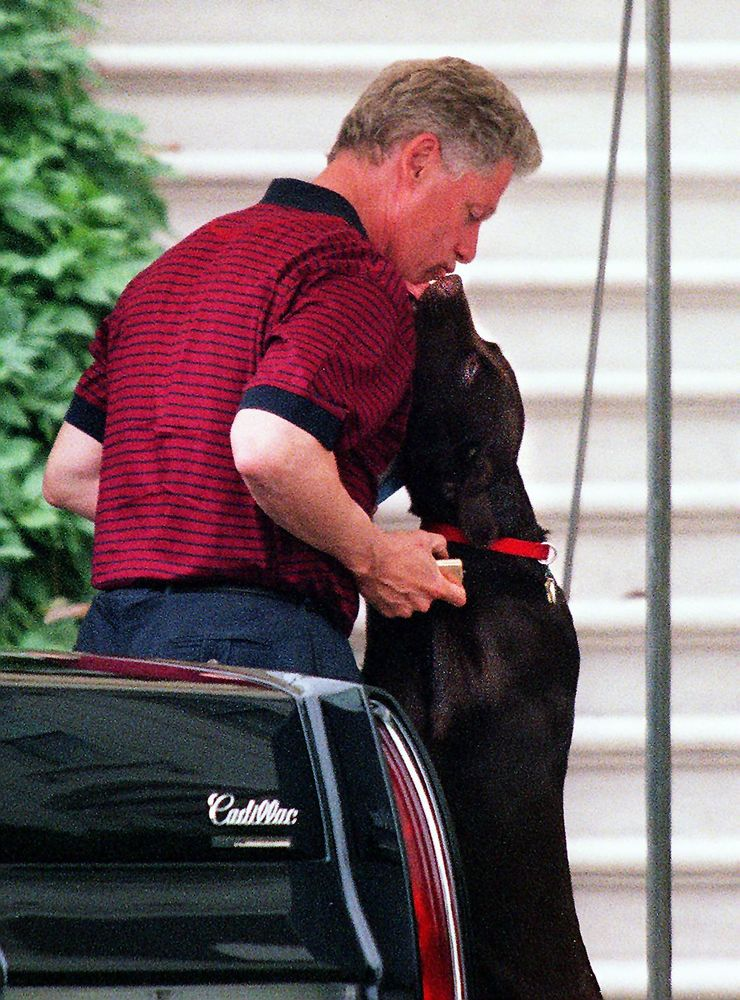 U.S. President Bill Clinton kisses his dog 'Buddy' 25 May as he arrives at the White House in Washington, DC after a day of g
