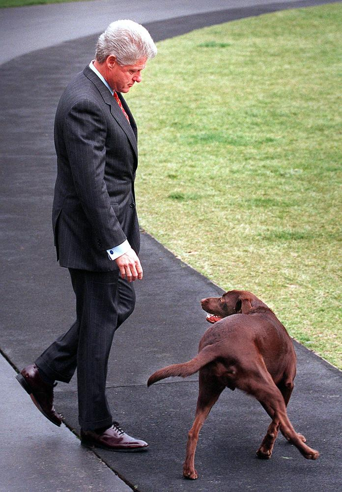 U.S. President Bill Clinton and First Dog 'Buddy' walk to Marine One on the South Lawn of the White House 28 March 1999 in Wa