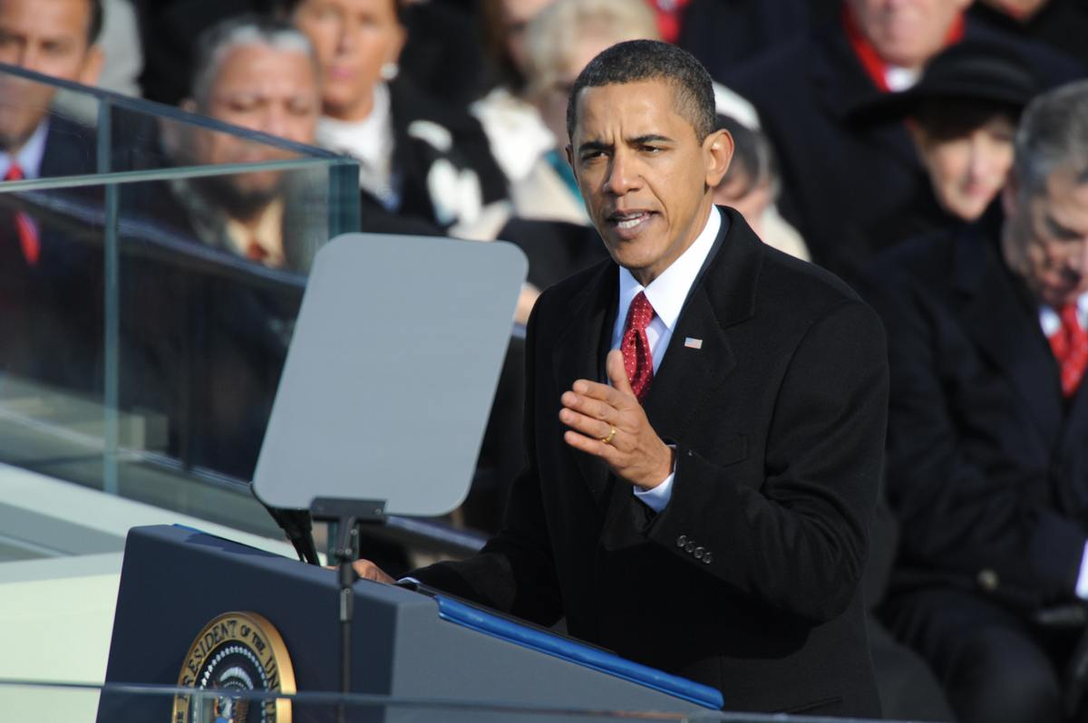 Barack Obama delivers his inaugural address after being sworn in as 44th U.S. president at the Capitol in Washington on Janua