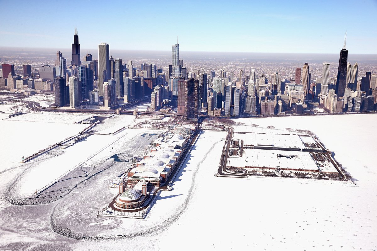 Navy Pier juts out into an ice-covered Lake Michigan on February 18, 2014 in Chicago. (Photo by Scott Olson/Getty Images)