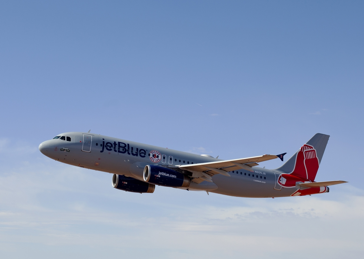 The official airline of the Boston Red Sox painted an Airbus A320 to match the team's grey road uniforms.   Mark Greenberg/