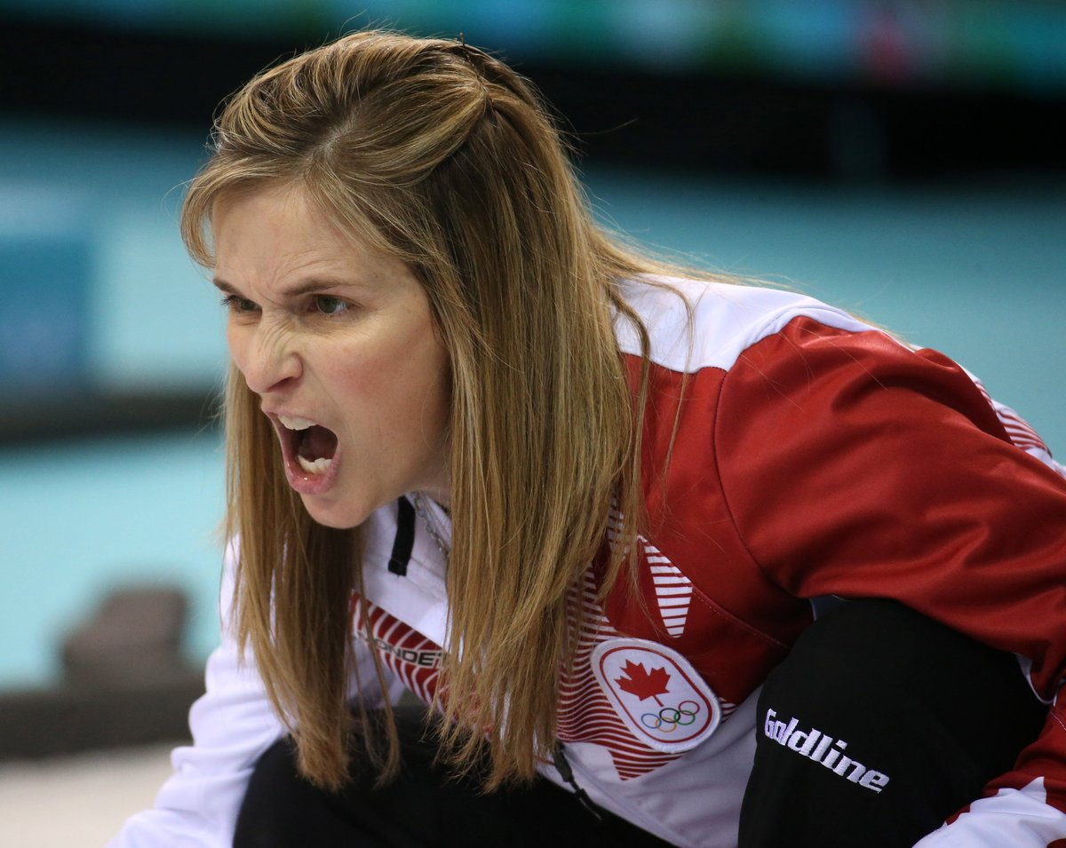 Canada's skip Jennifer Jones yells instructions during her team's victory over Great Britain in the women's curling semifinal