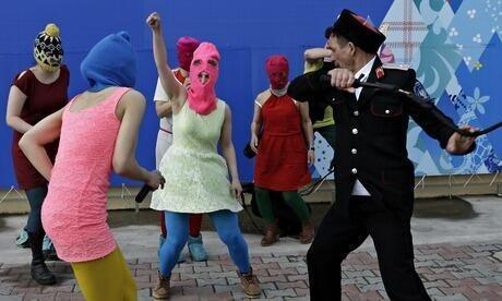 """After Pussy Riot was realesed from jail detention, they performed a song called """"Putin will teach you how to love motherland."""