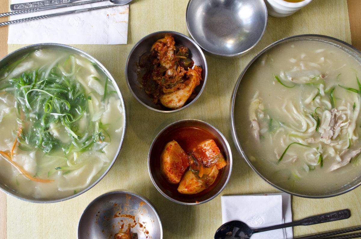 """Arirang specializes in <em>kalguksu </em>(literally, """"knife noodles"""" in Korean), pictured here."""