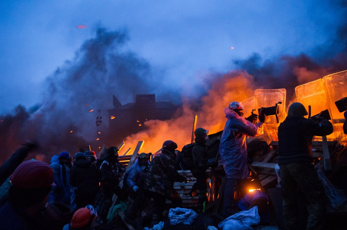 <br>Anti-government protesters clash with police in the center of Kiev on Feb. 20, 2014.