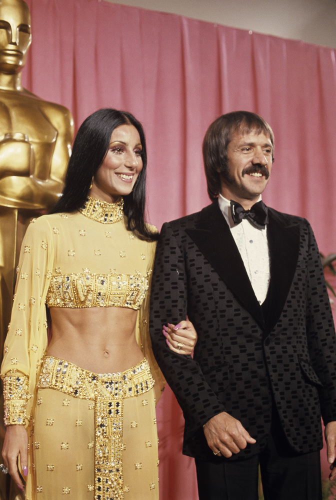 Sonny and Cher Bono at the 45th annual Academy Awards in 1973.