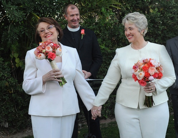 Kathy Hubbard and Annise Parker celebrated their 23rd anniversary by getting married in January in Palm Springs, California.
