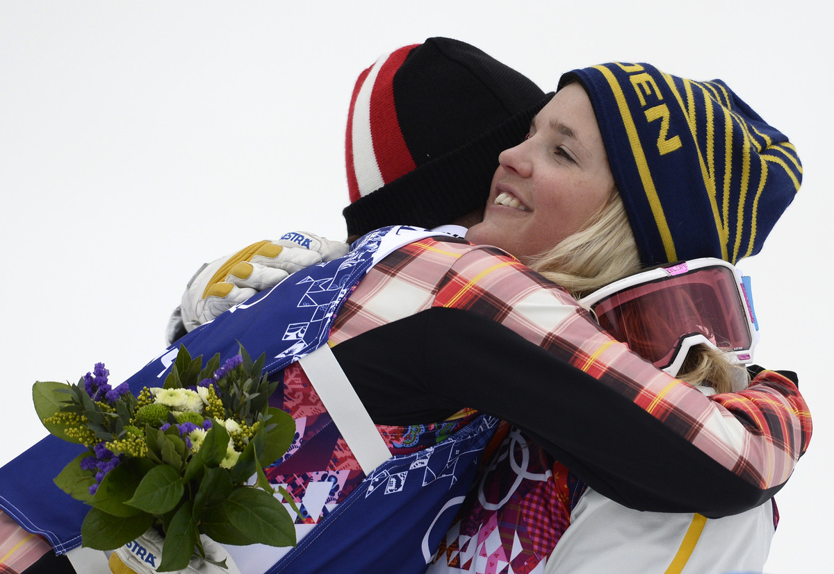 <em>Gold medalist Marielle Thompson of Canada embraces bronze medalist, Anna Holmlund of Sweden at the Women's Freestyle Skii