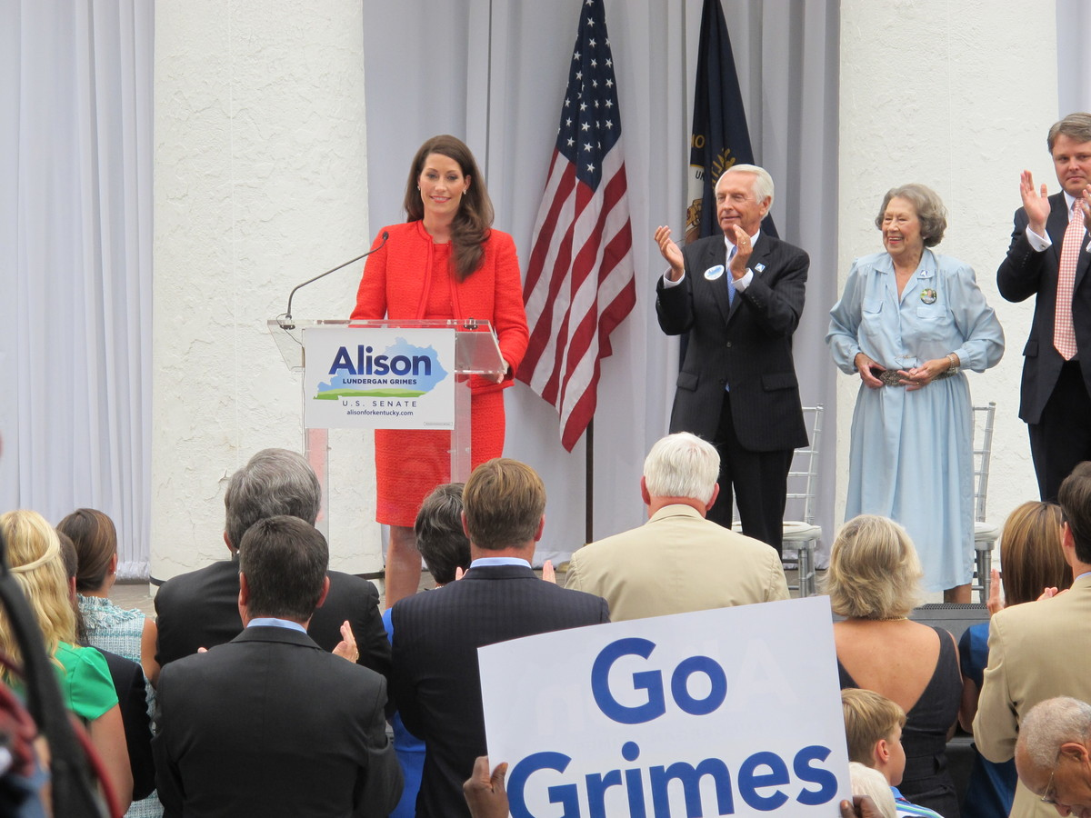 Democrat Alison Lundergan Grimes speaks during an outdoor political rally in Lexington, Ky., on Tuesday, July 30, 2013. Grime