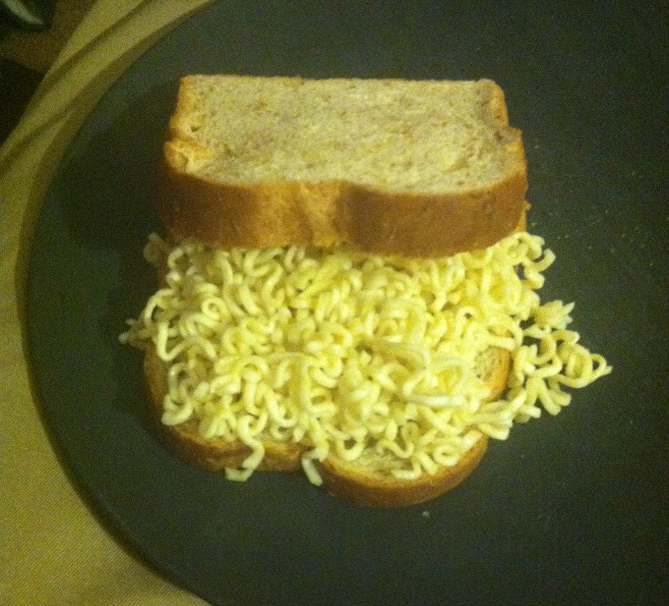 """One head-shaker includes a Ramen noodle sandwich (toasted bread though, so increase fancy about 15%) with seasoning packets"