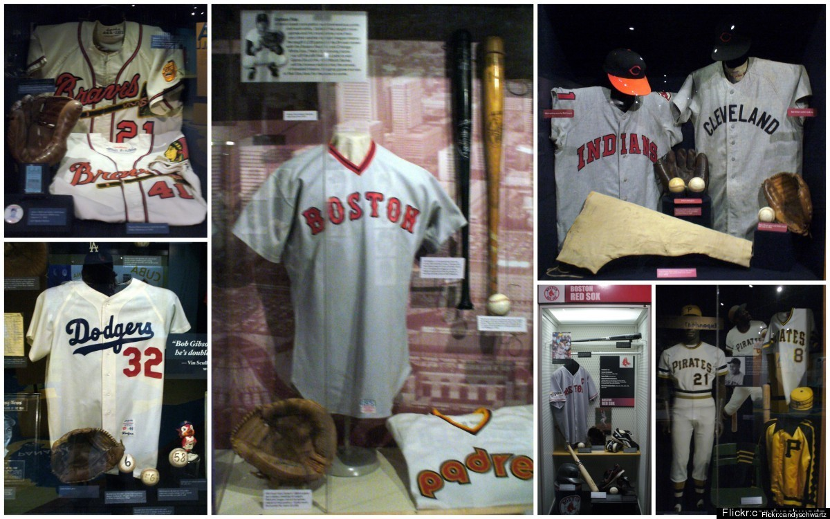Sports relics at the National Baseball Hall of Fame.