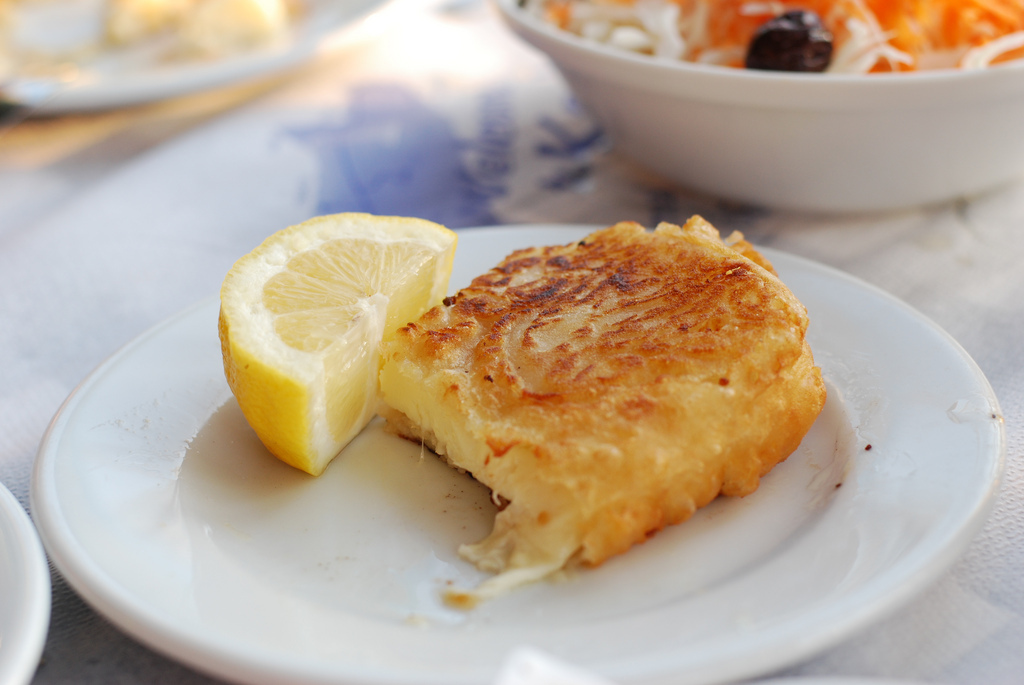All cheese, no bread necessary. In Greece, this grilled cheese is known as Saganaki. It's a yellow cheese -- usually Graviera