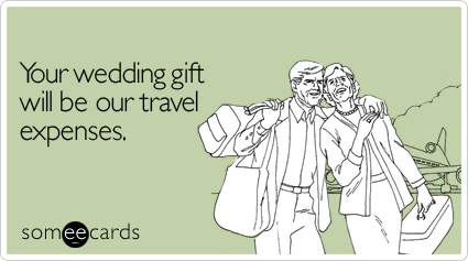 "To send it go <a href=""Your wedding gift will be our travel expenses"" target=""_blank"">here</a>!"