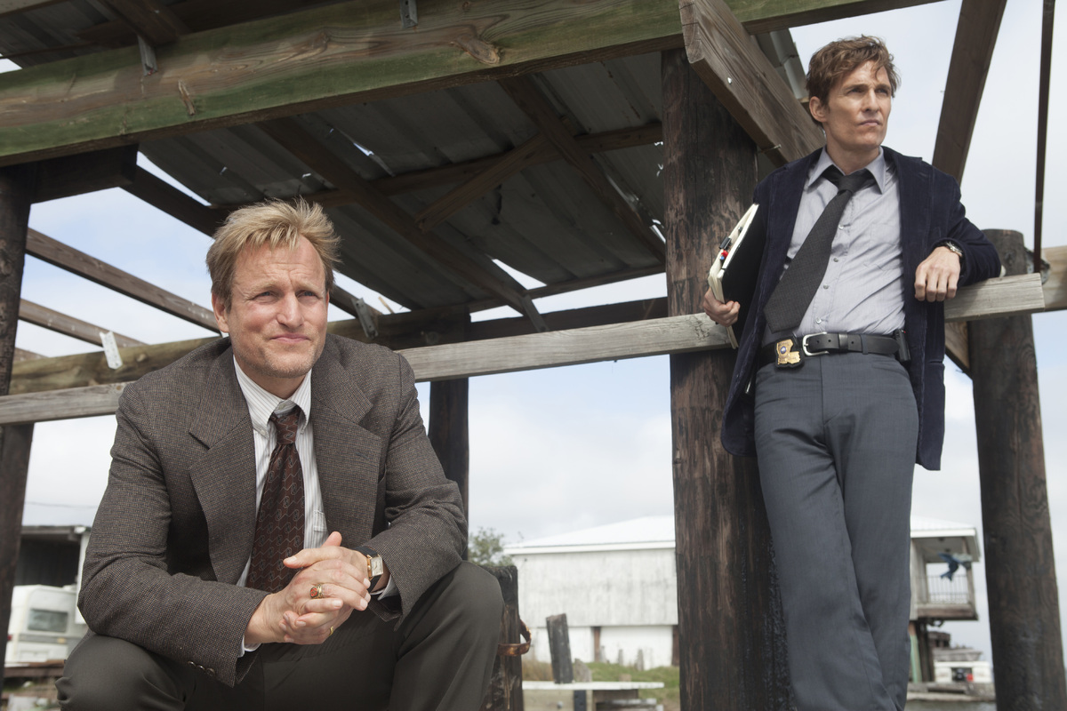 Because #truedetectiveseason2, but also they have to host in character.