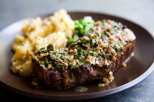 "<strong>Get the <a href=""http://www.simplyrecipes.com/recipes/peppercorn_steak/"" target=""_blank"">Peppercorn Steak recipe</a>"