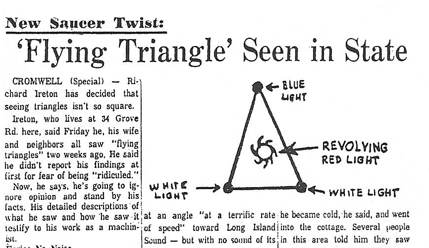 People have reported triangular, V-shaped UFOs for many decades, going back to the 1890s. The sighting reports have very simi
