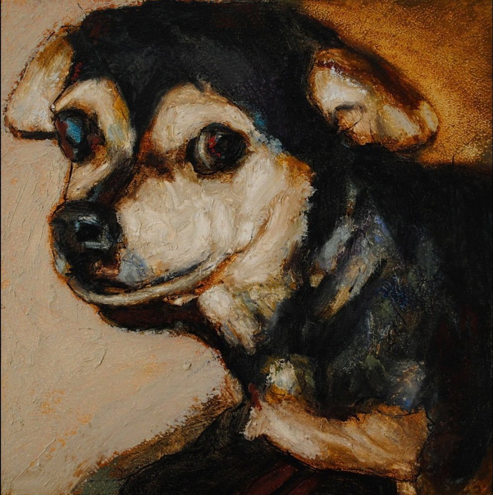One of the 5500 killed shelter dogs painted by Mark Barone. Images courtesy anactofdog.org