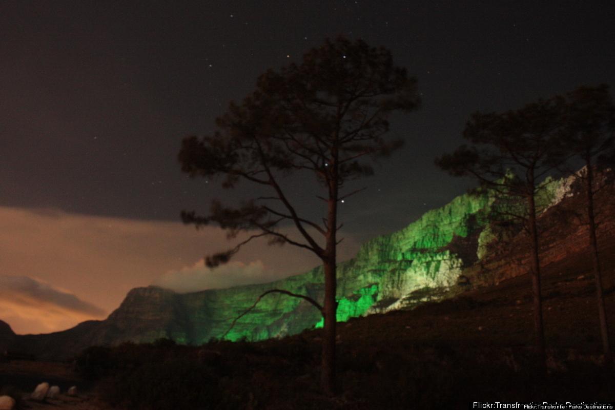 In its new-ish tradition of greening the world, Tourism Ireland illuminates Table Mountain — that iconic landmark that overlo