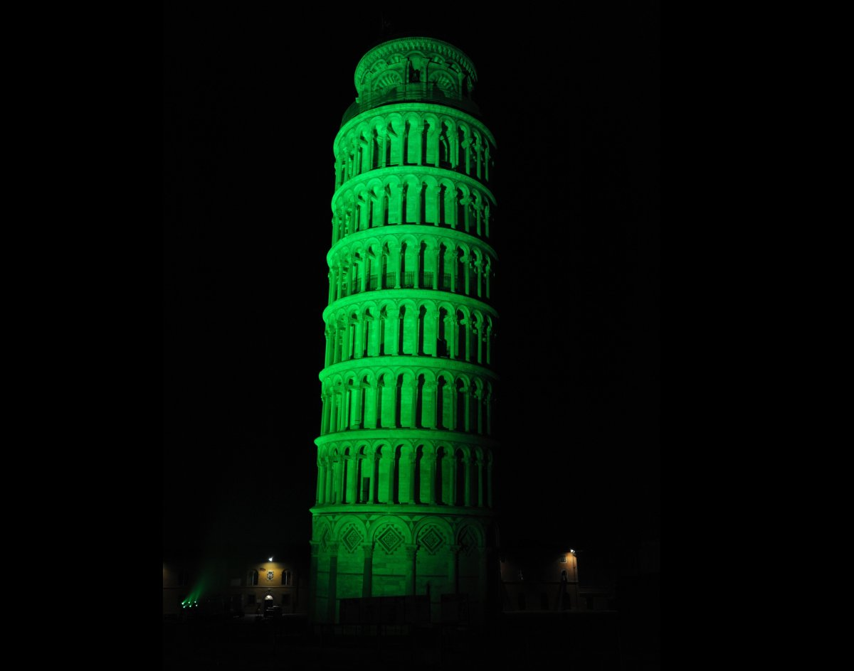 The Leaning Tower of Pisa is another landmark that will go green on St. Patrick's Day, but 124 miles away, in Bologna, an Iri
