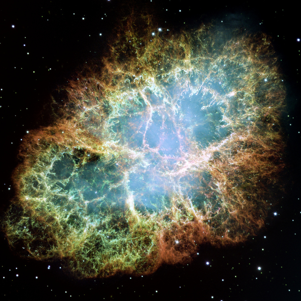 The Crab Nebula is a supernova remnant, all that remains of a tremendous stellar explosion. Observers in China and Japan reco