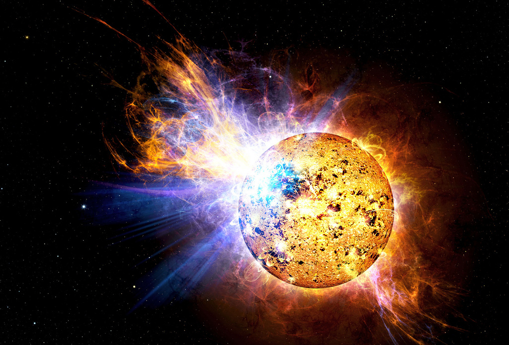 Artist's depiction of the powerful flare that erupted from the red dwarf star EV Lacertae in 2008.