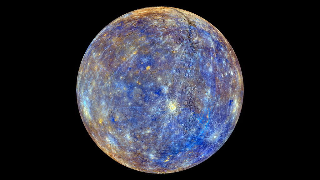 This colorful view of Mercury was produced by using images from the color base map imaging campaign during the spacecraft MES