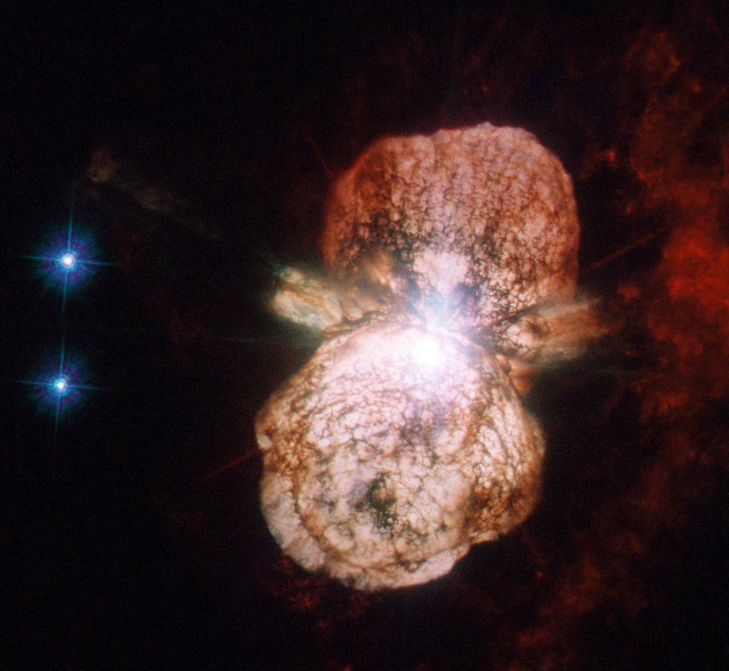 NASA's Hubble Telescope captured an image of the binary star system Eta Carinae. This image consists of ultraviolet and visib