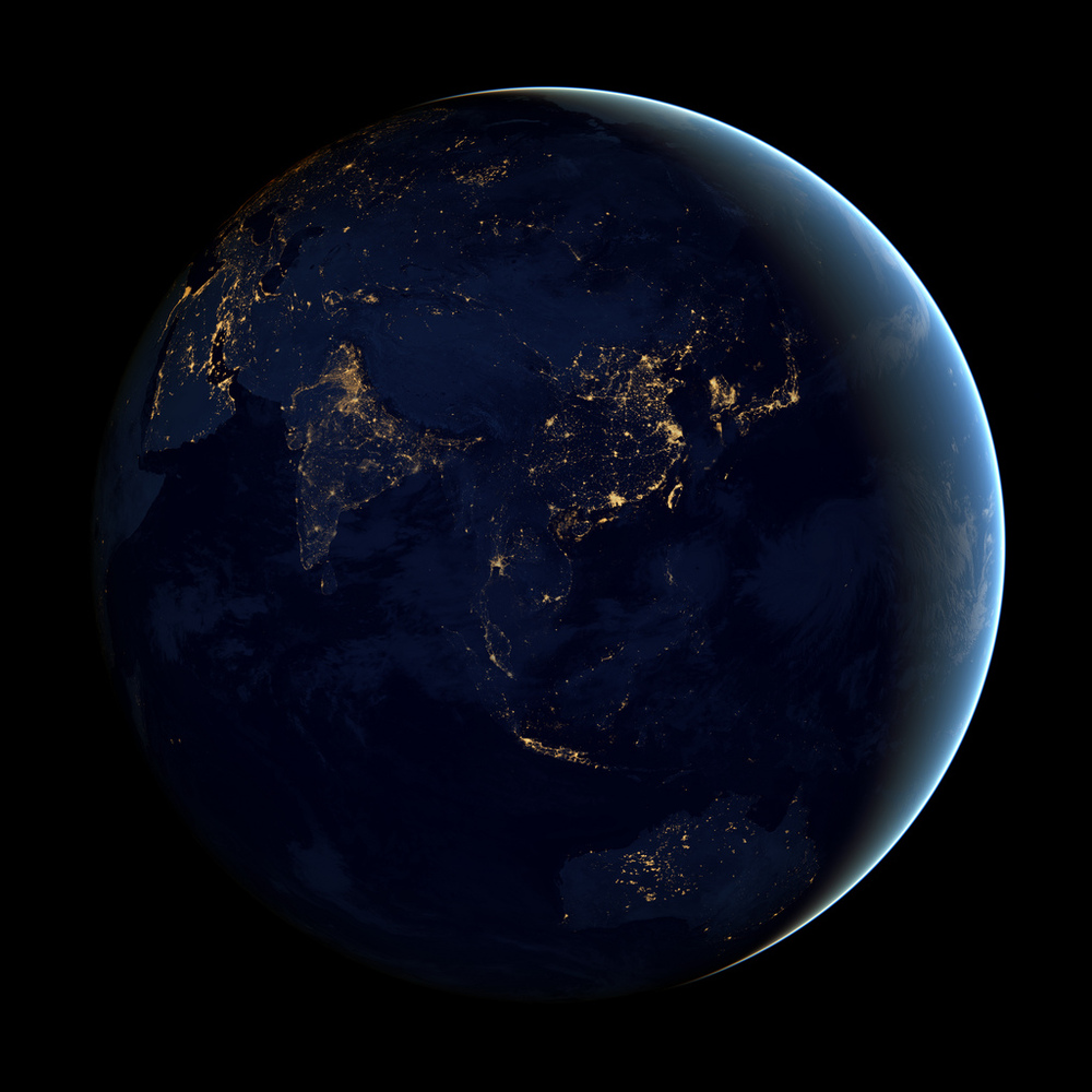 This image of Asia and Australia at night is a composite assembled from data acquired by the Suomi NPP satellite in April and