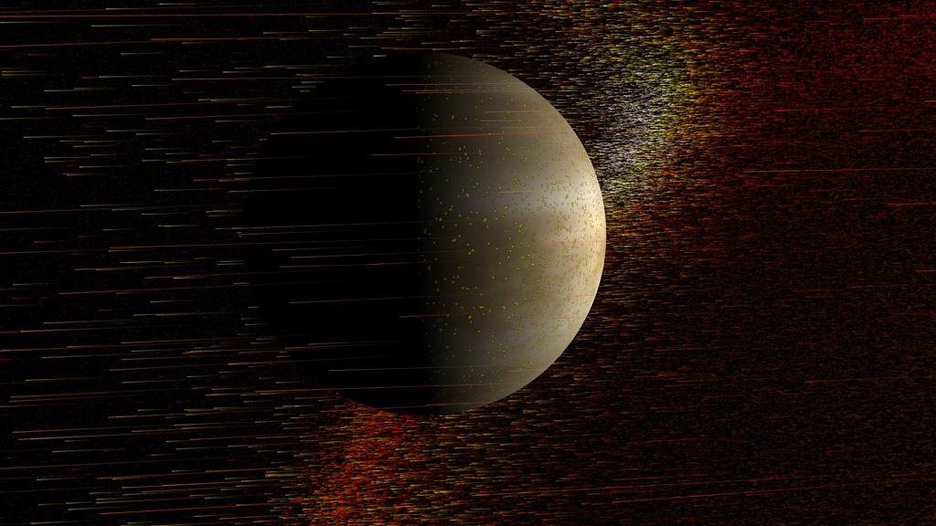 Unlike Earth, Venus lacks a magnetic field to deflect powerful solar outbursts -- as can be seen in this NASA-created image,