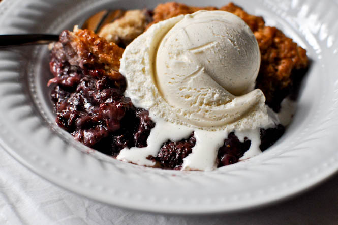 """<strong>Get the <a href=""""http://www.howsweeteats.com/2011/06/skillet-strawberry-cobbler/"""">Skillet Strawberry Cobbler recipe <"""