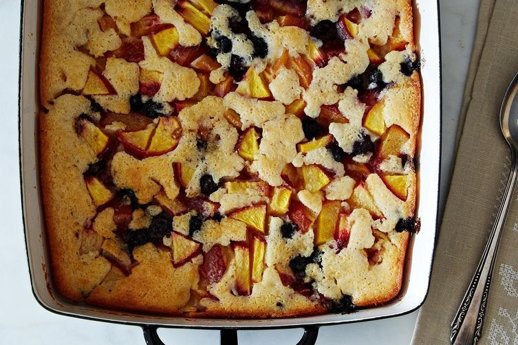 """<strong>Get the <a href=""""http://food52.com/recipes/22927-cuppa-cuppa-sticka-peach-and-blueberry-cobbler"""" target=""""_blank"""">Peac"""