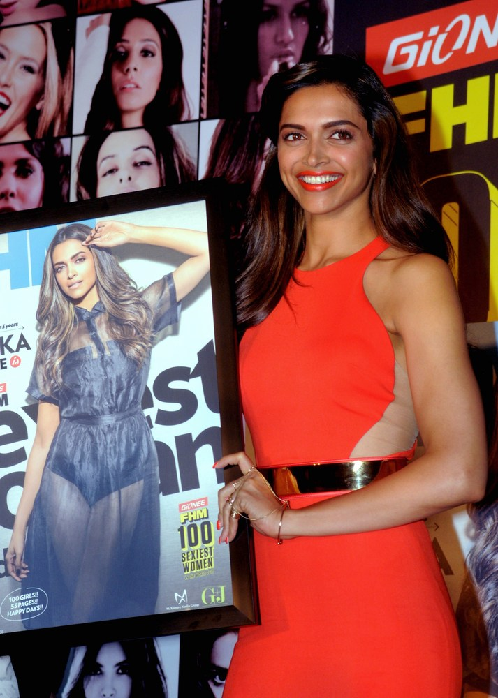 Indian Bollywood film actress Deepika Padukone poses during the unveiling the FHM annual 100 Sexiest women magazine in Mumbai