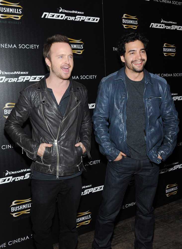NEW YORK, NY - MARCH 11:  Actors Aaron Paul (L) and Ramon Rodriguez attend DreamWorks Pictures' 'Need For Speed' screening ho