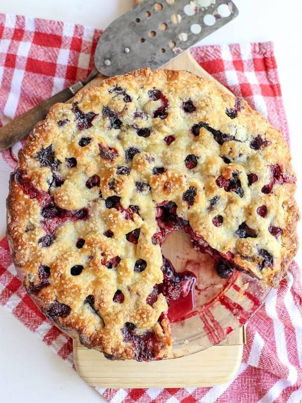 "<strong>Get the <a href=""http://www.foodiecrush.com/2014/07/four-berry-pie-recipe/"" target=""_blank"">Four Berry Pie recipe</a>"