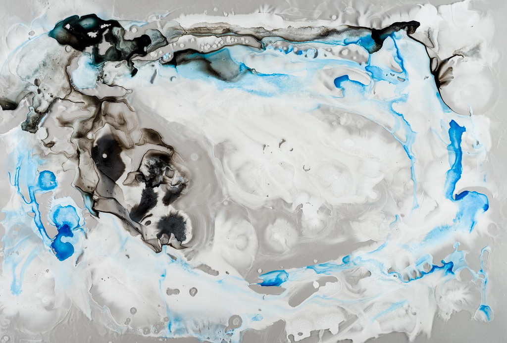 """""""Micro/Macro,"""" ink on mylar painting by Michele Banks.   (Photo by <a href=""""http://www.flickr.com/photos/118534924@N04/127323"""