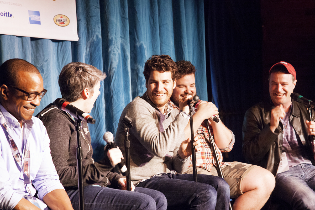 """<a href=""""http://schedule.sxsw.com/2014/events/event_CE00005"""" target=""""_blank"""">Improv 4 Humans Live Podcast Recording</a>, Marc"""
