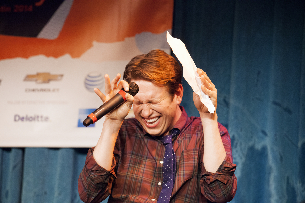 """<a href=""""http://schedule.sxsw.com/2014/events/event_CE00017"""" target=""""_blank"""">'You Made It Weird' Live Podcast Recording</a>,"""