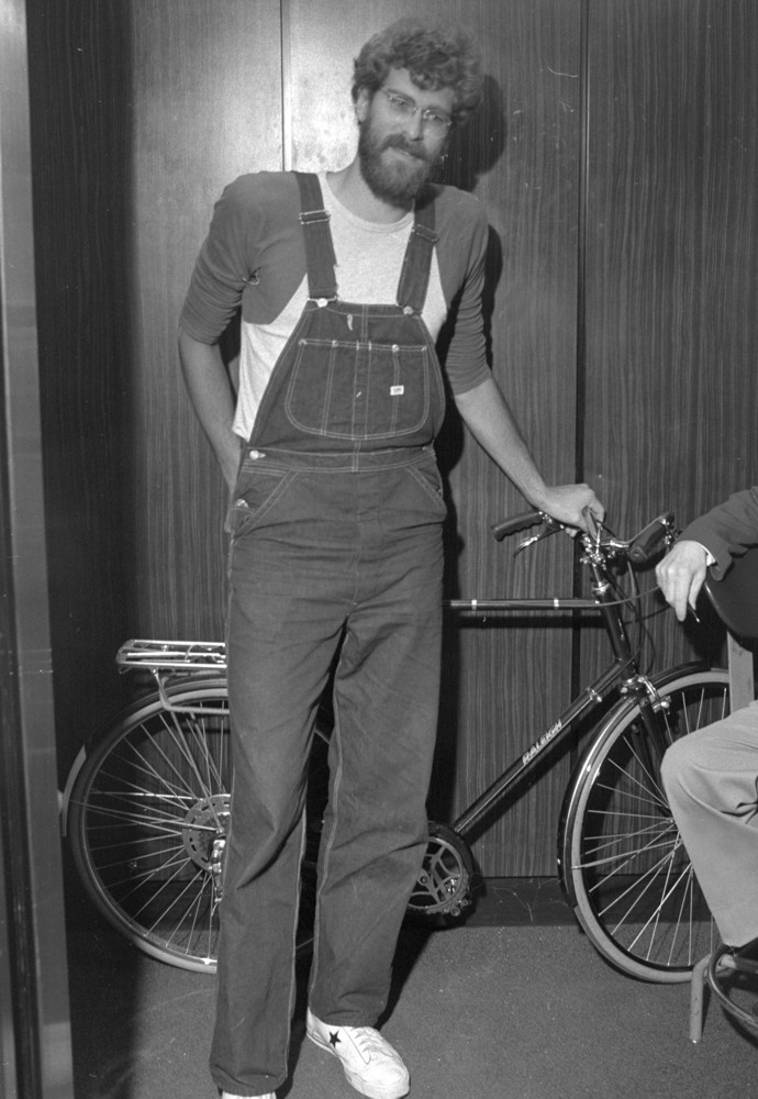 Phil Jackson stops by Knicks offices at Madison Square Garden with his bicycle on the day of the college draft. (Photo by Dan