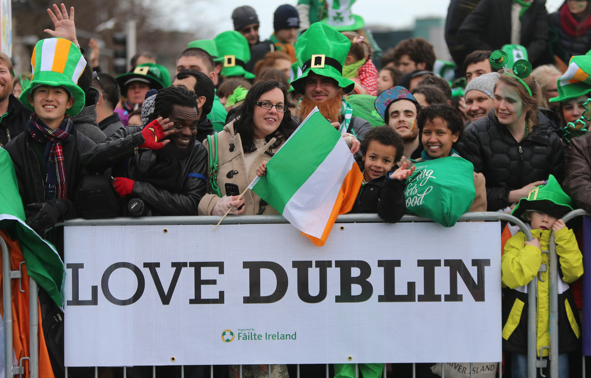 Crowds during the Dublin St Patrick's day parade, one of the largest in the world, which makes its way down O'Connell Street
