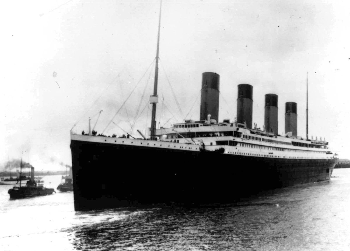 In this April 10, 1912 file photo, the liner Titanic leaves Southampton, England on her maiden voyage to New York City.